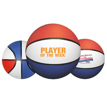 "7"" Mini Red/White/Blue Rubber Basketball"