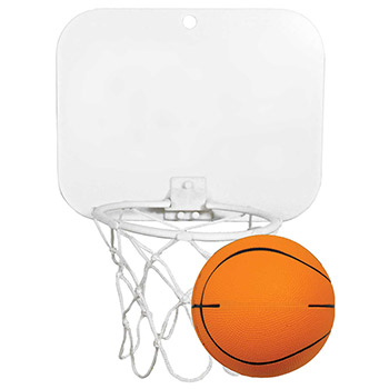 "Mini Basketball Backboard w/4"" Imprinted Foam Basketball"